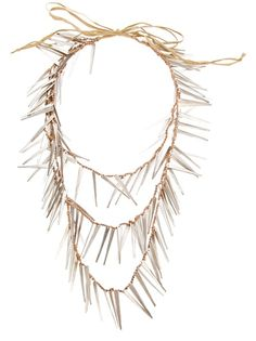 Bronze-tone metallic necklace from Maria Calderara featuring  a three strap design with pointed silver-tone beads and a string fastening.