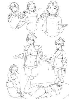 Line Art Manga Drawing Reference Ideas Female Drawing, Human Figure Drawing, Figure Drawing Reference, Art Reference Poses, Manga Drawing, Drawing Sketches, Anatomy Drawing, Drawing Art, Manga Art