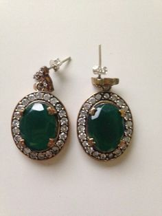 High Quality Turkish Emerald Topaz 925K Sterling Silver Earring Sterling Silver Earrings, Topaz, Emerald, Trending Outfits, Unique Jewelry, Handmade Gifts, Drop Earrings, Etsy, Vintage