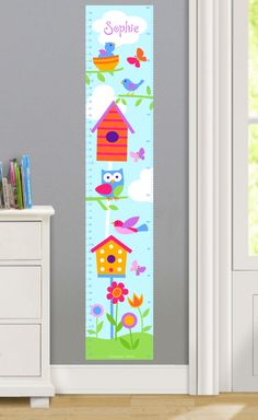 Features:  -Birdie collection.  -Printed on woven polyester fabric.  -Removable and repositionable.  Product Type: -Growth chart.  Theme: -Animal or insect/Flower or nature.  Color: -Multi-colored.  G