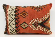 Handmade cushion cover 16x24 inch Turkish kilim pillow cover Organic cushion lumbar pillowcase Decorative kilim pillow cover YH-00F222 by pillowsandrugs on Etsy