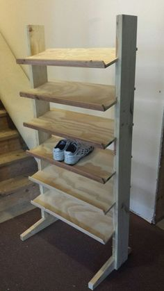 Making Shoe Racks: 4 Steps (with Pictures) Build A Shoe Rack, Wood Shoe Rack, Diy Shoe Rack, Shoe Racks, Shoe Rack Plans, Homemade Shoe Rack, Homemade Shoes, Best Shoe Rack, Shoe Rack Closet