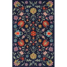 Bungalow Rose Anaya Hand-Tufted Wool Navy Area Rug Rug Size: Runner x Wool Area Rugs, Blue Area Rugs, Dynamic Rugs, Polyester Rugs, Grey And Gold, Blue Grey, Color Blue, Dark Blue, Brown Rug