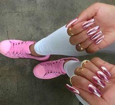 Rose pink hologram nails