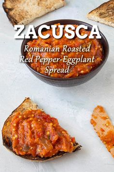 Zacusca Recipe: Romanian Roasted Eggplant and Red Pepper Spread - Zacusca is a Romanian vegetable spread made primarily from roasted eggplant and red peppers. It is popularly served as a spread on bread, but also as a relish for meats. Scottish Recipes, Turkish Recipes, Mexican Food Recipes, Vegetarian Recipes, Relish Recipes, Vegetable Recipes, Soup Recipes, Recipies, Romanian Food