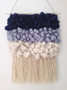 Hand Woven Wall Hanging / Weaving // Gradient Blue by WovenLaine Would love to learn how to do this! Weaving Textiles, Weaving Art, Loom Weaving, Tapestry Weaving, Hand Weaving, Blue Tapestry, Paper Crafts Origami, Easy Paper Crafts, Arts And Crafts