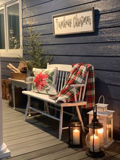 Living Large in A Small House - Christmas on our front porch Farmhouse Front Porches, Small Front Porches, Decks And Porches, Front Porch Seating, Front Porch Signs, Front Porch Bench Ideas, Christmas Porch, Christmas Decorations, Merry Christmas