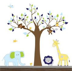 Vinyl Wall Decal Jungle Nursery Decals with Tree Animals-Children Wall Decals