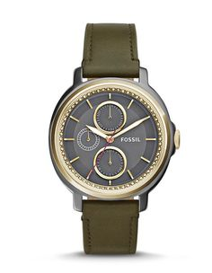 CHELSEY MULTIFUNCTION LEATHER WATCH - GREEN - $125.00    Add glamour without the glitz with our cool Chelsey. Reflecting the iconic, spirited feeling of the season, this multifunction features an eye-catching gunmetal dial with a polished gold-tone trim and green leather strap.