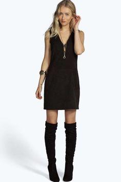 Sian Plunge Pocket Front Shift Suedette Dress alternative image