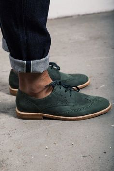Green Suede Wingtips, Men's Spring Summer Fashion.