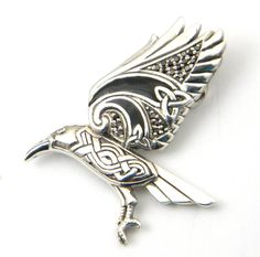 Sterling Silver Celtic Flying Raven Charm Slider Knotwork Up Wing Odin - The incredible detail and Celtic styling of this raven pendant make it a perfect gift for any fan of Celtic symbolism. It represents mystery, magic, and knowledge. $85.00