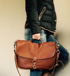 NEW Satchel//Thick Caramel Brown Cowhide with by arebycdesign
