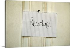 Premium Thick-Wrap Canvas Wall Art Print entitled Hand written Recording sign on a music studio door, None