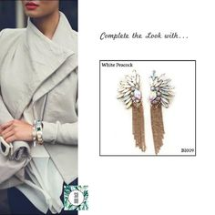 Ref: BI009 White Peacock Medidas: 8.3 cm x 3 cm  So Oh: 9.99 🌱 #sooh_store #onlinestore #style #inspiration #styleinspiration #brincos #earrings #fashion #shoponline #aw2016 #aw1617 #winterstyle