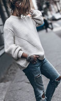 denim and white | sweater + ripped jeans