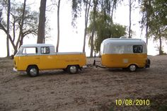 Bright VW Double Cab and Camper