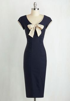 Sheath a Lady Dress in Navy by Stop Staring! - Blue, Tan / Cream, Bows, Trim, Ruching, Cocktail, Shift, Cap Sleeves, Scoop, Solid, Vintage Inspired, 40s, Pinup, Variation, Work, Nautical, Long