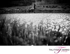Black and White Wedding Photography. Unique Wedding Photography. Creative Wedding Portraits. Bride and Groom. Waterfront Wedding Portrait. Durango CO