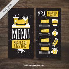 Menú amarillo de hamburguesería vintage Vector Gratis
