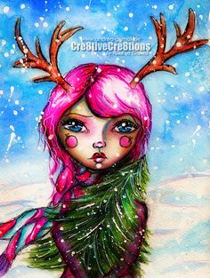 Creative Creations by Andrea Gomoll   Winter Whimsy Girl with Watercolors   http://andrea-gomoll.de