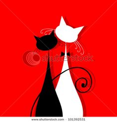 Couple cats together, silhouette for your design by Kudryashka, via ShutterStock