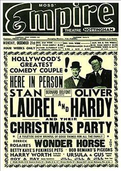 """""""Laurel & Hardy's Christmas Party"""" Empire Theatre, Nottingham - A Beautiful Glossy Art Print Taken From a Vintage Theatre Poster Stan Laurel Oliver Hardy, Laurel Und Hardy, Brand Advertising, Advertising Poster, Christmas Party Poster, Comedy Duos, Great Comedies, Abbott And Costello, Concert Posters"""