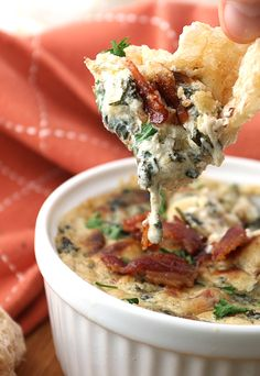 Bacon Roasted Garlic spinach dip, nice change up from my usual spinach artichoke dip.