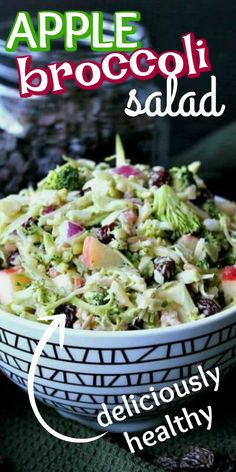 Healthy Broccoli Salad has everyone's favorite vegetables and fruits. Raisins, apples and no mayo for this easy recipe. You throw everything in a bowl then pour in the slightly sweet and tangy dressing. # Food and Drink vegetarian Easy Broccoli Salad Vegetarian Recipes, Cooking Recipes, Healthy Recipes, Easy Recipes, Amish Recipes, Low Calorie Recipes, Apple Broccoli Salad, Spinach Salad, Potato Salad