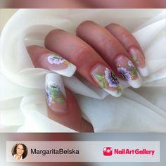 One-Stroke Nail Art by MargaritaBelska via Nail Art Gallery #nailartgallery #nailart #nails #handpainted #onestroke #frenchacrylic #acrylicandhandpainted #onestrokeflowernailart #extendednailbed