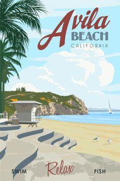 Just looking gallery - steve thomas retro avila beach travel poster. Avila Beach California, California Travel, Vintage California, California Republic, California Coast, Surf, Steve Thomas, Voyage Usa, Poster Decorations