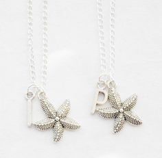 Silver Starfish Necklaces 2 Sea Star Necklaces Set of 2 Starfish Necklaces Best Friends Necklace Set Beach Wedding Initial Necklace Present by SmittenKittenKendall on Etsy