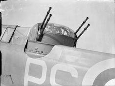 Boulton Paul Defiant gunner of 264 Squadron in his turret at RAF Kirton in Lindsey.
