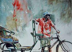 "Indian Watercolor Artist- ""Rajkumar Sthabathy"" 1975 - Fine Art and You - Painting Watercolor Artists, Watercolor Portraits, Watercolor Paintings, Watercolor Ideas, Watercolours, Indian Illustration, Watercolor Illustration, Realistic Paintings, Your Paintings"