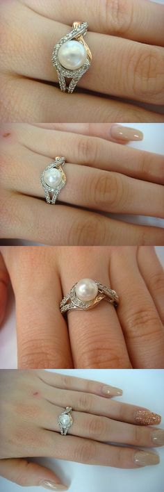 Pearl 11021: 14K Rose And White Gold Genuine 6.5 Mm Pearl And 0.30 Ct T.W. Diamonds Ladies Ring -> BUY IT NOW ONLY: $350 on eBay!