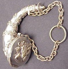 VICTORIAN SILVER PLATE OVER BRASS HORN-FORM PERFUME CHATELAINE