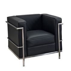 Le Corbusier Style LC2 Genuine Leather and Steel Chair | Overstock™ Shopping - Great Deals on Living Room Chairs