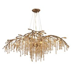 Autumn Twilight - organic branches in mystic gold finish with cascading crystals to form a forest canopy!  Stunning!
