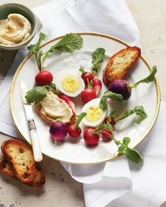 Hard-Cooked Eggs with Radishes and Anchovy-Butter Crostini Recipe