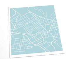 Stockholm City Map Art Print / Sweden Poster Custom Modern Artwork / 8x10 Digital Print / Choose your color