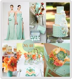 Mint green #wedding, #mint and #orange wedding