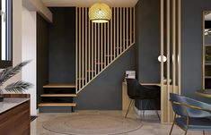 Staircase Design Modern, Interior Staircase, Home Stairs Design, Home Room Design, Home Office Design, Home Interior Design, House Design, Flur Design, House Stairs