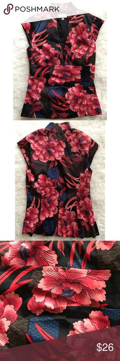 "EUC Karen Millen Chinoiserie Peonies Floral Blouse In excellent pre-loved condition Karen Millen Floral Blouse in size 4. Runs small, so best fora size 0-2. Hidden size zipper. Measure about 21"" length, 15"" pit to put, 71% acetate / 25% polymaide / 4% elasane. Son stretch to the Blouse. Lined.  ❌No modeling or trades. Open to reasonable offers. Thank you‼ Karen Millen Tops Blouses"
