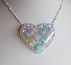 Iridescent Glittery Mermaid Shells Heart Shaped by CandyShockUK