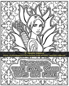 katniss the girl who was on fire hunger games coloring pages https