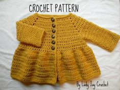 Penelope Cardigan - Crochet pattern by Lady Jay Crochet. Source by cottencandy Sweaters Crochet Baby Sweaters, Crochet Baby Cardigan, Crochet Baby Clothes, Cardigan Pattern, Baby Knitting, Free Knitting, Knitting Patterns, Knitting Tutorials, Shawl Patterns