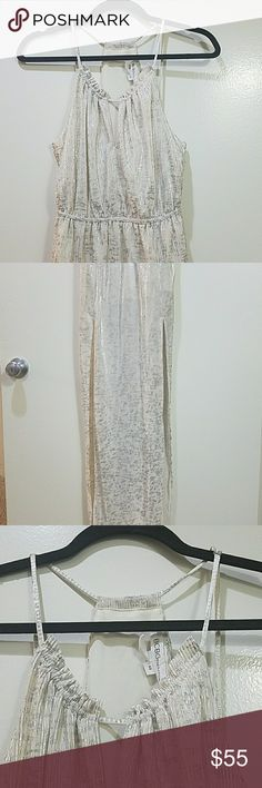 BCBGeneration dress Beautiful dress with side slits and sinched waist. Perfect for a wedding or summer party. BCBGeneration Dresses Maxi