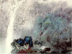 iamjapanese:  Li Shan(李山 Chinese, b.1926) By the waterside Listening to the river surges 驟雨初歇 The moon is lingering above the trees via ink on paper