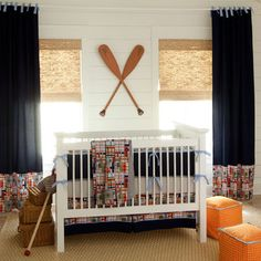 Bamboo shades in nautical room -  Boys Room Design, Pictures, Remodel, Decor and Ideas - via Houzz