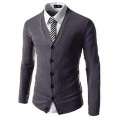 100% Brand New Spring Business Men Clothing Fashion Slim V Collar Cotton Long Sleeve Knit Cardigan Fashion Sweaters